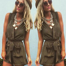 Sexy Womens Sleeveless V-Neck Playsuits Rompers Casual Short Jumpsuits Beachwear