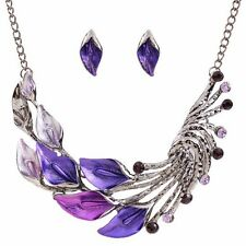 Silver Plated Leaves Enamel Inlay Crystal Necklace Earring Jewelry Set for Women