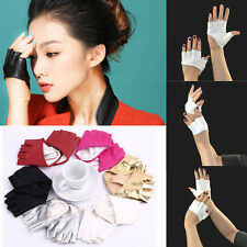 1 Pair Womens Half Finger Fingerless PU Leather Gloves Driving Club Show Gloves