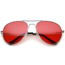 sunglassLA Classic Metal Frame Colored Teardrop Lens Aviator Sunglasses