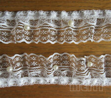 Beaded Pleated Lace Edge Trim Gathered Mesh Ribbon Dress Applique Sewing Craft