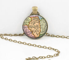 Illinois Vintage Map Pendant Necklace Jewelry or Key Ring