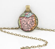 Ohio Vintage Map Pendant Necklace Jewelry or Key Ring