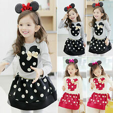 2PCS Toddler Kids Baby Girls Outfits Long Sleeve Minnie Tops +Skirt Clothes Set