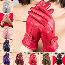 Women's Winter Warm Genuine Bow Lambskin Leather Driving Soft Lining Gloves