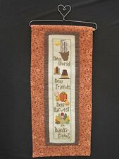 New World, Friends, Harvest - Finished Thanksgiving Cross Stitch Wall Hanging