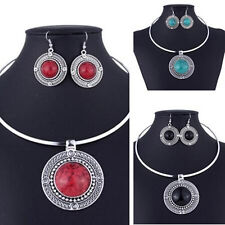 Women Fashion Turqoise Sets For Round Necklace Earrings Vintage Sets Jewelry