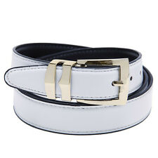 Reversible Belt Bonded Leather with Removable Gold-Tone Buckle WHITE / Black
