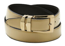 Reversible Belt Bonded Leather with Removable Gold-Tone Buckle BEIGE / Black