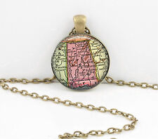 Alabama Vintage Map Pendant Necklace Jewelry or Key Ring
