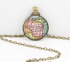 Wisconsin Vintage Map Pendant Necklace Jewelry or Key Ring