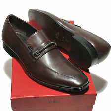 NEW Hugo Boss Brown Leather Bit Fashion Loafers Dress Shoes Men's Tuxedo Casual