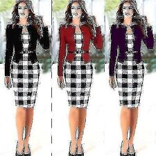 Womens Faux Twinset Stretch Tunic Wear To Work Party Formal Pencil OL Dress Hot