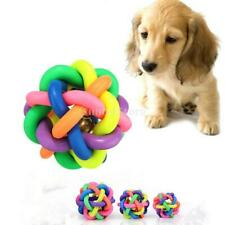 Pet Dog Cat Toy Rainbow Rubber Round Ball with Sound Bell Puppy Pet Toy