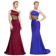 One-Shoulder Satin Ball Gown Bridesmaid Evening Cocktail Prom Party Formal Dress