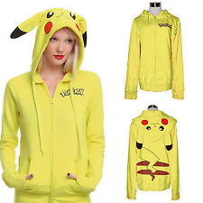 Pokemon Anime Jacket Pikachu Hoodies Cosplay Ears Face Tail Zip Hoody Sweatshirt