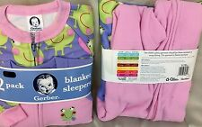 toddler Girl 2 pack footie pajamas Pink frog 18M 24M 3T   blanket sleeper Gerber