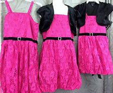 Girls pink lace Bubble lined dress w/ black shrug size  5 6 7 8 12 Christmas