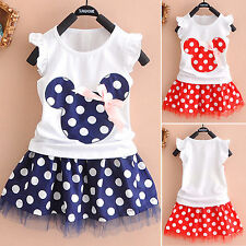 Summer Kids Baby Girls Minnie Mouse Party Tutu Tulle Mini Dress Polka Dot Skirts
