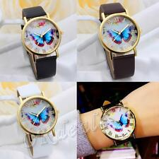 Numerals Fashion Wrist Watch Faux Leather Band Butterfly Dial Quartz Analog