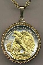 Walking Liberty (reverse) Half Dollar Silver & Gold Plated Coin Necklace #1