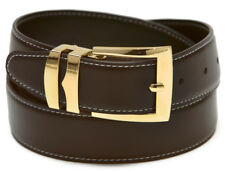 Reversible Belt Wide BROWN  / Black with White Stitching Gold-Tone Buckle