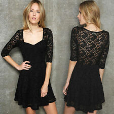 Womens Casual Hollow Lace See-through Half Sleeve Tunic Mini Dress Lining New