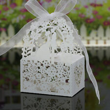 50x Sweet Wedding Party Favor Love Heart Paper Candy Ribbon Gift Boxes