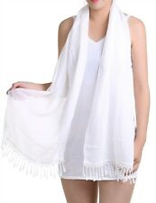 """RECTANGLE WHITE, LIGHTWEIGHT SCARF,SHAWL WRAP,SARONG,CAPE,ONE SIZE 66""""X17""""-122"""