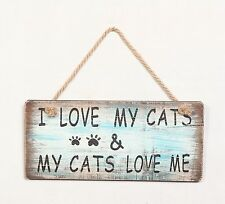 """Wood Rustic Pet Sign """"I Love My Dogs/Cats"""" 5.75""""H X11.75"""" W Pet Wall Decor"""