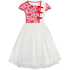 Girls Dress Vintage Color Block Cap Sleeve Birthday Party Age 4-12 Years