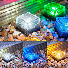 Solar Crystal Lawn Lights Patio Garden Lamp Waterproof LED Ice Brick Fence Lamp