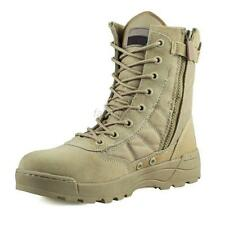 Khaki Leather Side Zip Mens Military Combat Boots Lace Up Shoes Fashion Footwear