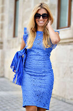 ZARA WOMAN ROYAL BLUE EMBROIDERED GUIPURE TUBE MIDI DRESS WITH LACE Ref 2703/614