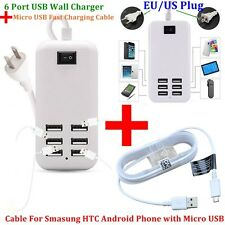 6 Port USB Wall Charger Multi Port Wall Charger+ Fast Charging Micro USB Cable