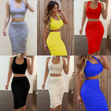 Fashion 2Pc Sexy Womens Bodycon Bandage Crop Tops+Skirt Set Clubwear Party Dress
