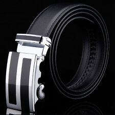 Simple Mens Quality Genuine Leather Business Dress Belt with Auto Lock Buckle