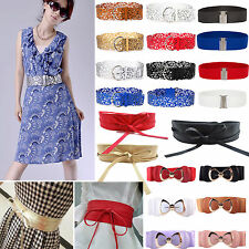 Womens Leather Wide Dress Belt Bowknot Elastic Stretch Buckle Waist Band Belts