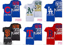 1x NWT Victoria Secret Yankees Dodgers Rangers Giants As Baseball Kiss Cam Tee