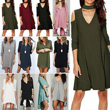 Ladies Womens Baggy Long Sleeve Loose Casual Blouse Tops Tee Shirt Party Dress