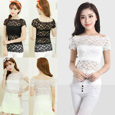 Sexy Women Lady Sheer Short Sleeve Top Blouse Lace Hollow Crochet Tee Shirts