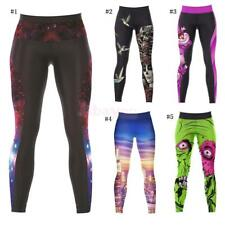 Women Girls Yoga Pilates Gym Fitness Print Sports Pants Tights Stretch Trousers
