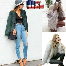 Winter Womens Warm Solid Faux Fur Fox Zipper Coat Jacket Parka Ladies Outerwear