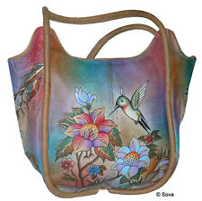 Sova Hand Painted Leather Big Tote Bag