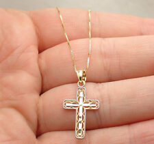 Diamond Cut Filigree Cross with Box Chain Necklace Real Solid 10K Yellow Gold