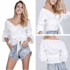 Trendy Women V Neck Off Shoulder Shirts Long Sleeve Casual T-shirt Blouse Tops