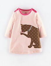 Baby Girls NEW Ex Store Mini Boden Applique Striped Jersey Dress- 2-3y Cat