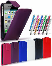 LEATHER FLIP CASE COVER POUCH, LCD FILM & STYLUS PEN FOR APPLE IPHONE 4S