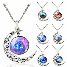 Colorful Galaxy Glass Silver Tone Crescent Moon Pendant Necklace Charm Jewelry