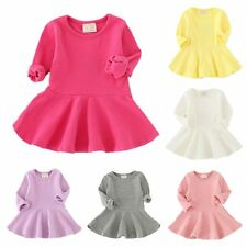 Baby Girl Long Sleeve Clothes Autumn Toddler Infant Party Wedding Ruffle Dress